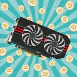 Computers video card. Video card in a black case with two coolers for the cryptoferm and bitcoin. Vector image Stock Photography