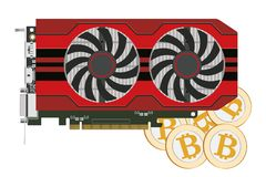 Computers video card. Video card in a red case with two coolers for the cryptoferm and bitcoin. Vector image Royalty Free Stock Photography