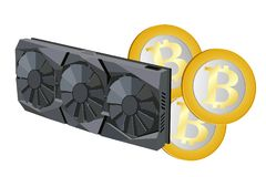 Computers video card. Video card with three coolers and bitcoin for the computer. Vector image Stock Photo