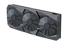 Computers video card. Video card with three fans for the computer. Vector image Stock Photos