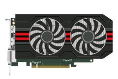 Computers video card. Video card with two cooler in a black case for the computer. Vector image Royalty Free Stock Image