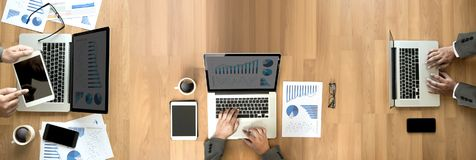 Computers the view from the top business banner with copy space stock photo