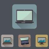Computers vlakke die pictogrammen met lange schaduw worden geplaatst vector illustratie