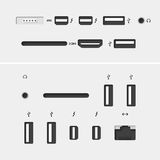 Computerschakelaars met pictogrammen Royalty-vrije Stock Afbeeldingen