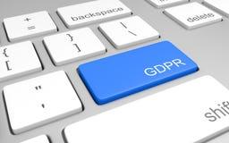 Computerschlüssel für das Zugreifen auf GDPR-Befolgungsinformationen für Websiteinhaber, Wiedergabe 3D Lizenzfreies Stockfoto