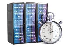 Computerserver met chronometerconcept, het 3D teruggeven Stock Fotografie