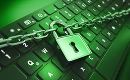 Computerslot en ketting - conceptenveiligheid royalty-vrije illustratie