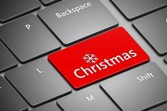 Computertastatur mit Weihnachtsknopf Lizenzfreies Stockfoto