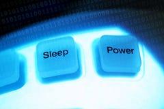 Computertasteschlaf und -leistung Stockbilder