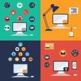 Computertechnologieikonen im flachen Design Lizenzfreies Stockbild