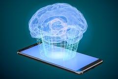 Computertechnologiekonzept der künstlichen Intelligenz, renderin 3D Lizenzfreie Stockfotos