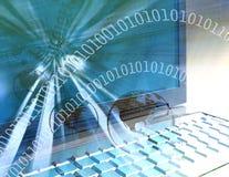 Computertechnologiewereld - blauw stock illustratie