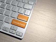 Computertoetsenbord, de onderzoeksknoop zoekmachine, Blockchain, cryptocurrency, Royalty-vrije Stock Afbeeldingen
