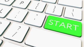 Computertoetsenbord en groene beginsleutel Het conceptuele 3d teruggeven Stock Afbeelding