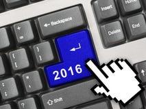 Computertoetsenbord met de sleutel van 2016 Stock Afbeelding