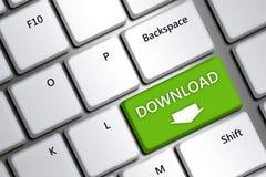Computertoetsenbord met downloadknoop Royalty-vrije Stock Afbeelding