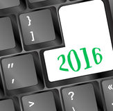 Computertoetsenbord met Gelukkige Nieuwjaar 2016 Sleutel Stock Foto