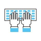 Computertoetsenbord met handengebruiker Stock Afbeeldingen