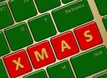 Computertoetsenbord met Kerstmisknopen Stock Afbeelding