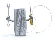 Computertoetsenbord met wapens en hulpmiddelen op hand Stock Afbeelding