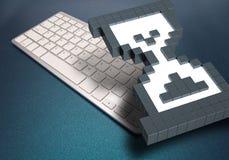 Computertoetsenbord op blauwe achtergrond computertekens het 3d teruggeven 3D Illustratie Royalty-vrije Stock Foto's