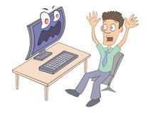 Computervirus erschrickt den Benutzer Stockfotos