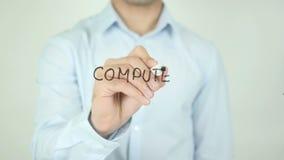 Computerwetenschap, die op het Transparante Scherm schrijven stock video