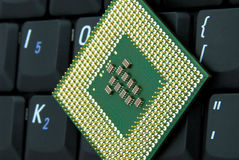Computing. Picture of computer chip and keyboard Royalty Free Stock Photography