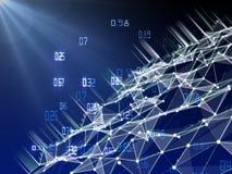 Computing algorithm cryptography infographic. Big data polygonaly visualization