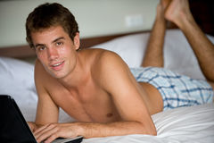 Computing In Bedroom royalty free stock photography