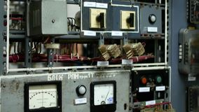 Computing cabinets in the factory. Different devices in the center of extinction.  stock footage