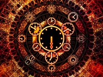 Computing Chronology. Circles of Time series. Abstract design made of clock symbols and fractal elements on the subject of science, education and prediction stock illustration