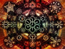 Computing Chronology. Circles of Time series. Abstract design made of clock symbols and fractal elements on the subject of science, education and prediction royalty free illustration