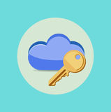 Computing cloud with key flat design Royalty Free Stock Photography