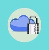 Computing cloud with lock flat design Stock Photography