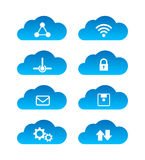 Computing cloud technology icon set isolated on white background Royalty Free Stock Image