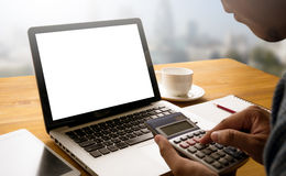 Computing Computer  Laptop with blank screen on table Stock Image