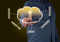 Computing concept. Close up of businessman touching cloud icon with finger Royalty Free Stock Photo