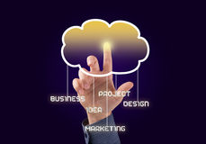 Computing concept. Close up of businessman touching cloud icon with finger Royalty Free Stock Image