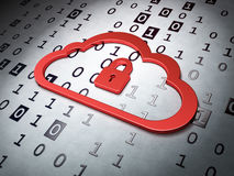 Computing concept:  Cloud Whis Padlock on Binary Code back Stock Photo