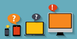 Computing Concept on Different Electronic Devices. Vector Illust Stock Photography