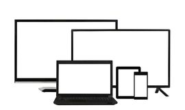 Computing concept - lots of different monitors isolated Royalty Free Stock Images