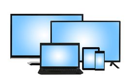 Computing concept - lots of different monitors isolated Stock Photos