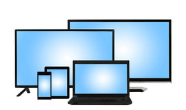 Computing concept - lots of different monitors isolated Royalty Free Stock Photography