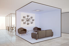 Computing concept. Modern office interior with lounge area, workplaces and computer sketch on wall. Computing concept, 3D Rendering Royalty Free Stock Photo