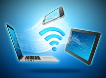 Computing devices connected to the network by wi- Stock Image