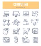 Computing Doodle Icons. Computing and networking doodle vector icons set. Computer devices for communication, sharing and storing information vector illustration
