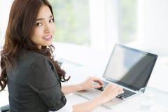 Computing girl Stock Photo