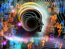 Computing Human Mind. Design composed of human feature lines and symbolic elements as a metaphor on the subject of human mind, consciousness, imagination Stock Images