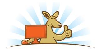 Computing Kangaroo. Cartoon kangaroo sitting at a computer giving a thumbs up sign Stock Photography